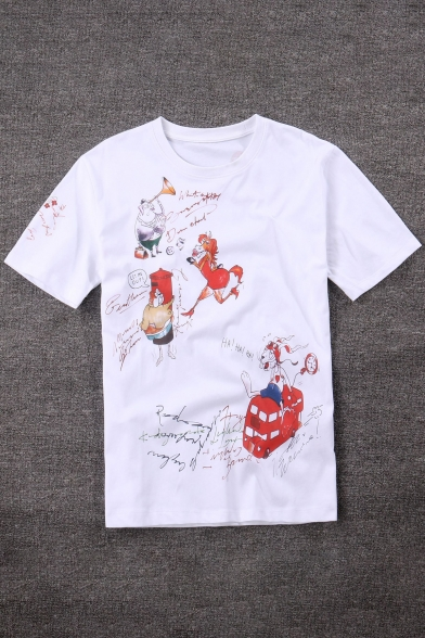 Rabbit Round Casual Chicken Cartoon Pig Childish Tee Neck Pattern Letter Horse dCwxz0I0qT
