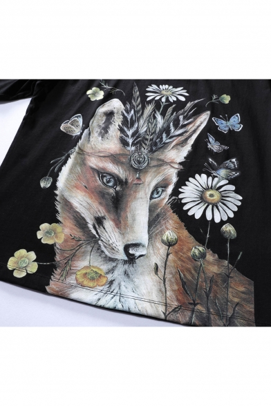 Unisex Neck Round Printed Sleeve Comfort Short Floral Tee Fox dn7XqwxR