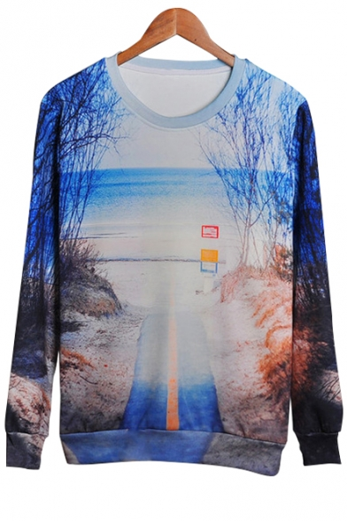 Digital Landscape Printed Round Neck Long Sleeve Pullover Sweatshirt