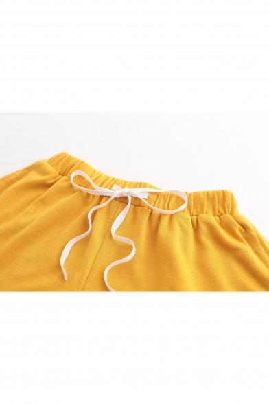 Drawstring Waist Loose Plain Leisure Sports Shorts with Pockets