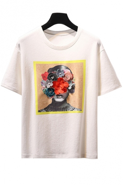 Floral Printed Short Round Tee Embellished Leisure Character Neck Sleeve RSpqRgrWn