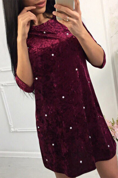 Velvet Neck Half Embellished Leisure Dress Mini Pearl T Sleeve Round Shirt PwBYqpHqt
