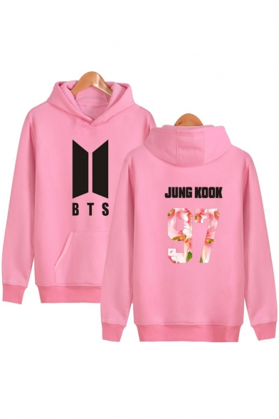 Retro Fashion BTS Letter Number Print Long Sleeves Pullover Hoodie with Pocket