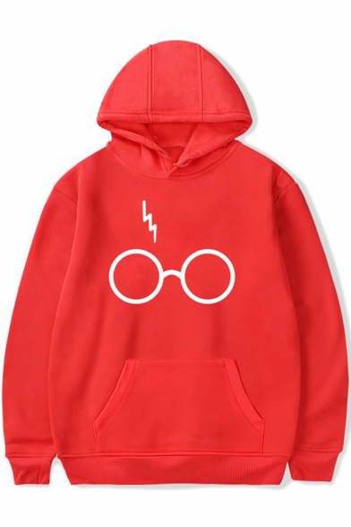 with Pocket Long Hoodie Eyeglasses Lightning Pullover Pattern Simple Sleeves R4P0Sxx