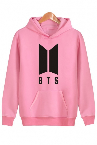 Simple Long Print Sleeves Pocket Hoodie Pullover with Letter BTS Letter rqvIr