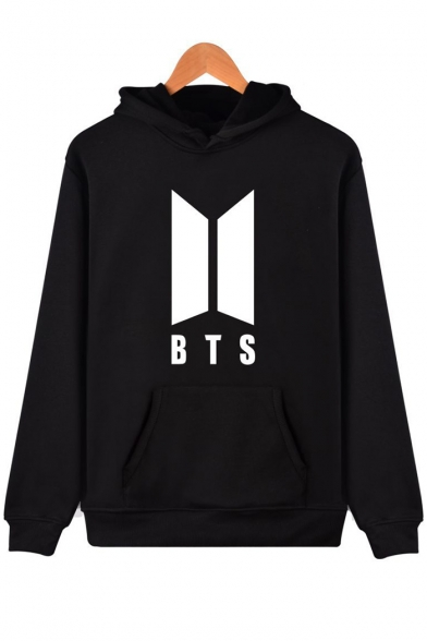 Print Letter Hoodie Sleeves Pocket BTS Pullover Long Letter with Simple pt0qHxdwnH