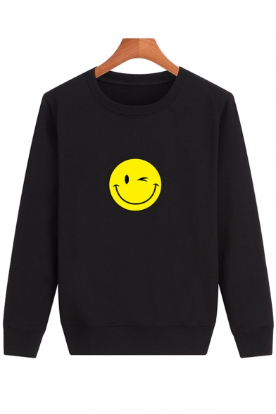 Long Sweatshirt Face Pullover Sleeve Simple Neck Smile Round Printed w4xZUqUHX