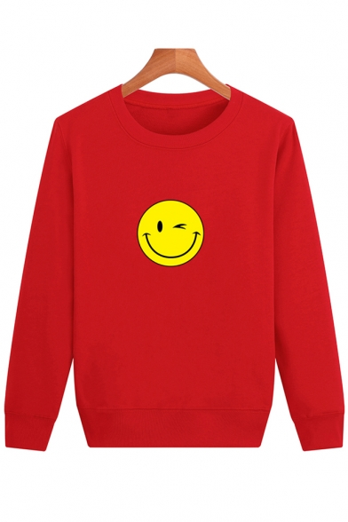 Simple Long Neck Round Pullover Sleeve Smile Face Sweatshirt Printed vfnzvx