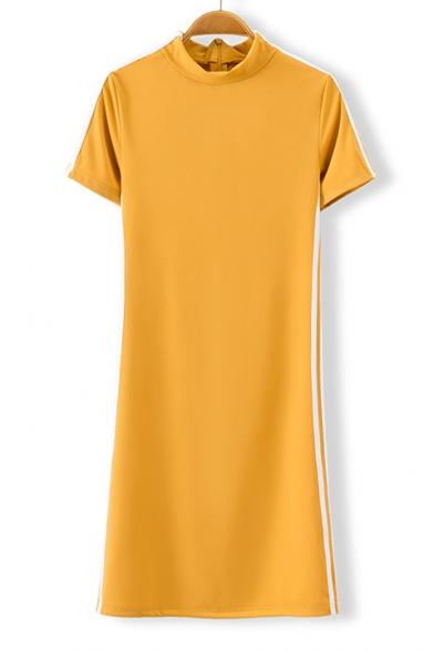 Sportive Striped Side High Neck Short Sleeve Mini Bodycon Dress