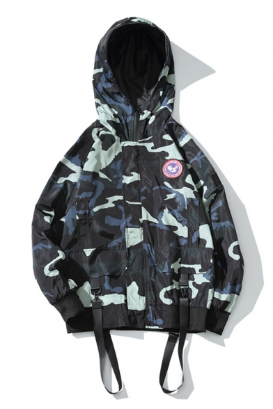 Fashion Letter Detail Strap Hooded Up Jacket Street Pattern Badge Zip qfHdEA