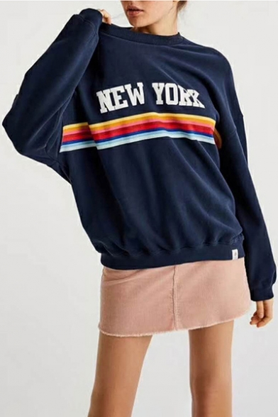 Pullover Long Fashion Sweatshirt Rainbow Letter Neck Sleeves Round Print Street aO8qwYO