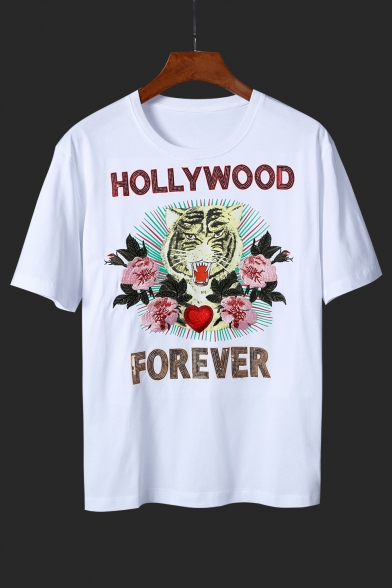 Sleeves Round Pattern Stylish Tiger Tee Short Neck Floral Casual Sequined Letter CwCgXq8