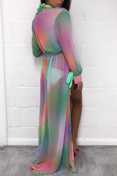 Summer Fashion Ombre Tie Dye Long Sleeve Bow Belted Maxi Beach Dress
