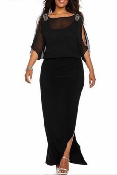 Trendy Plain Split Sleeve Slit Side Boat Neck Layered Maxi Pencil Dress