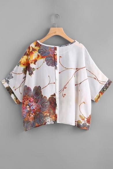 Tee Batwing Round Fashion Sleeves Print Vintage Loose Floral Neck qw8tXHRH