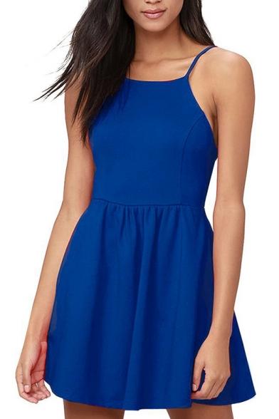 Basic Plain Spaghetti Straps Sleeveless Open Back Mini Cami Dress