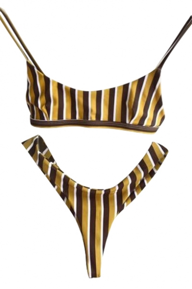 Fit Chic Summer Swimwear Spaghetti Simple Striped Pattern Straps Bikini Slim BwAxYqaw