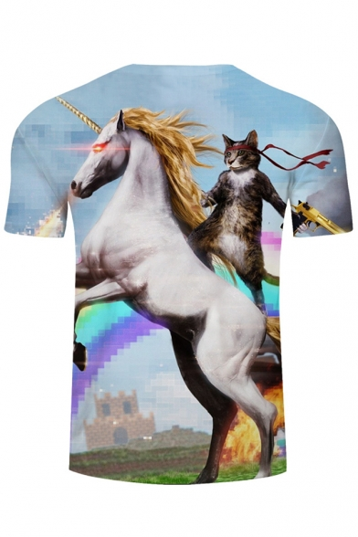 Digital Summer Short Print Neck Unicorn T Cat Round shirt Sleeves r4xa0rq1w