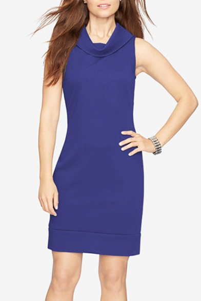 Elegant Cowl Neck Sleeveless Plain Zip Back Mini Pencil Summer Dress