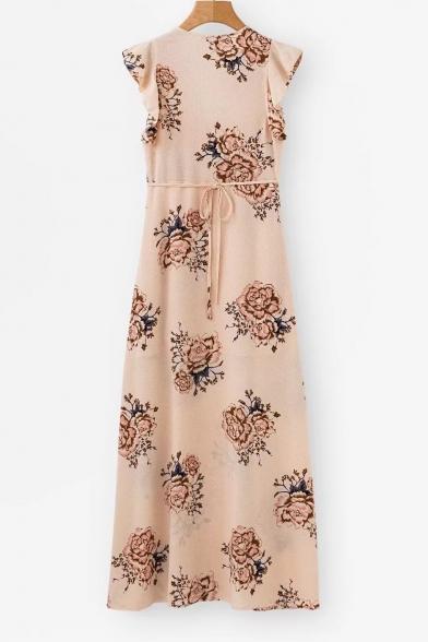 Elegant Floral Printed Ruffle Detail Sleeve Split Front Maxi A-Line Dress