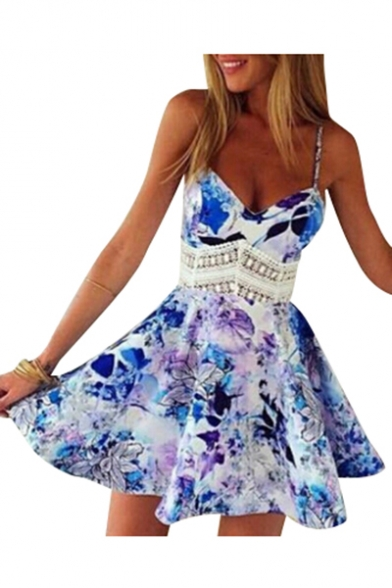 Floral Printed Spaghetti Straps Sleeveless Hollow Out Mini A-Line Dress
