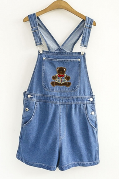 Hot Chic Teddy Bear Embroidered Pocket Front Denim Overall Romper