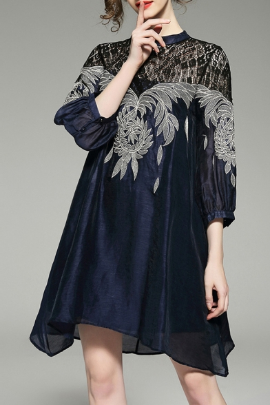 Embroidered 4 3 Sleeve Dress Lace Neck Mini Leaf Pattern A Round Line Insert Length CYt0qtwS