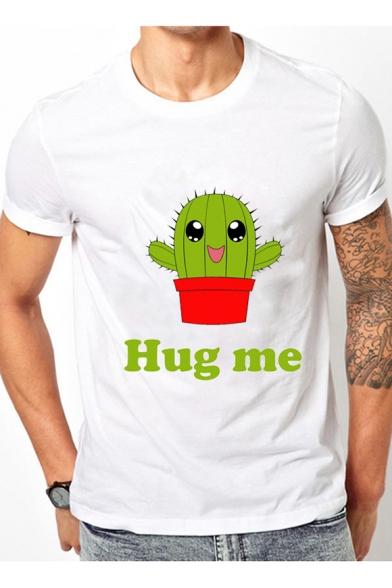 22c0347d8 ... Lovely HUG ME Cartoon Cactus Letter Printed Round Neck Short Sleeve Tee