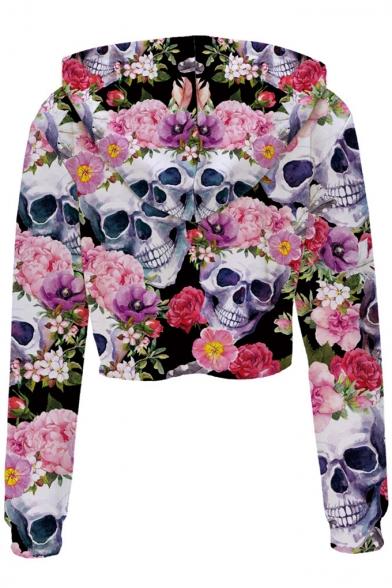 Hoodie Crop New Sleeve Printed Trendy Floral Skull Long nqwCvOR