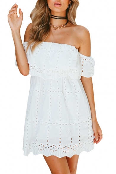 Off the Shoulder Plain Hollow Out Ruffle Front Mini A-line Dress