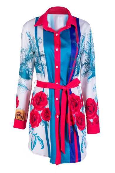 Block Belted Color Tunic Popular Shirt Print Front Lapel Floral Button xqvwpwZ0t