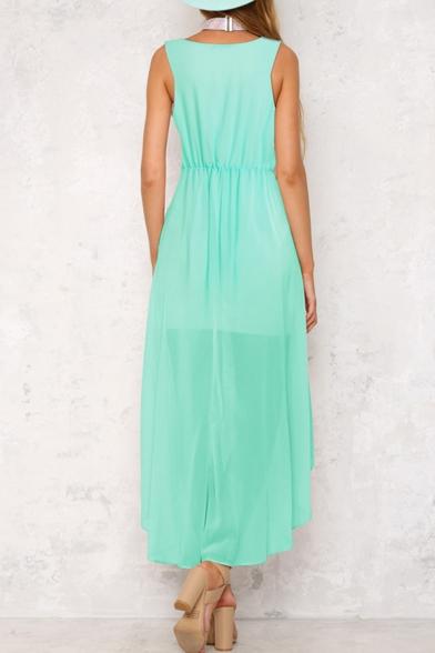Popular Plain Scoop Neck Sleeveless Split Front High Low Hem Summer Dress