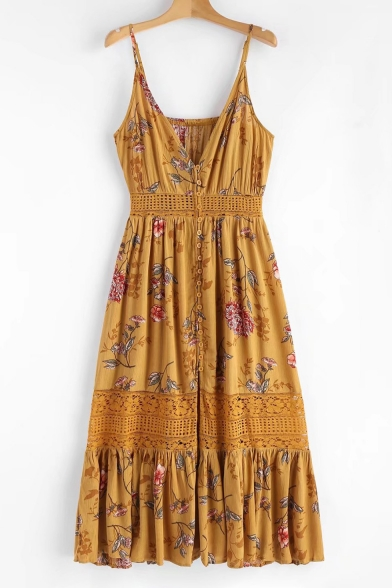 Dress Insert Bohemia Maxi Floral Lace Printed Cami Down Buttons Straps Spaghetti Style PwqUOWxCw1