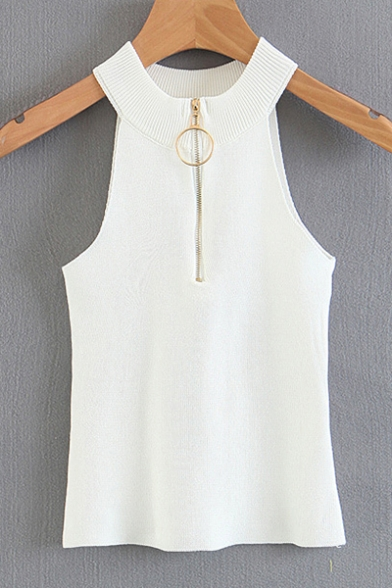 Zipper Embellished Round Tank Circle Plain Sleeveless Chic Neck q5UvZw