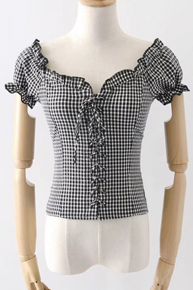 Printed Classic Neck Retro Crop Short V Sleeve Blouse Plaid Lace Up r1ZExqIw1