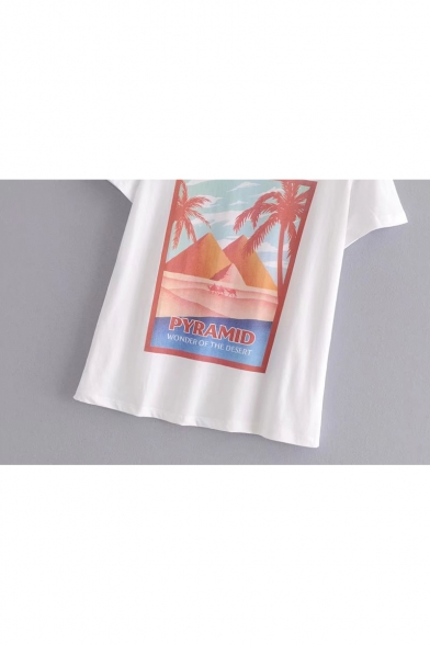 Sleeve Coconut Round Tee Short Printed PYRAMID Neck ZCUwxZA4q