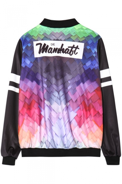 Stand Leisure Sleeve Collar Printed Up Jacket Color Down Long Letter Buttons Block q0Znvwx4tR