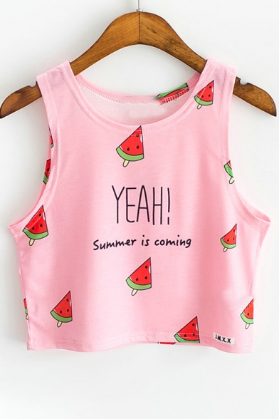 Cute Watermelon YEAH Letter Print Sleeveless Summer Cropped Tank Top