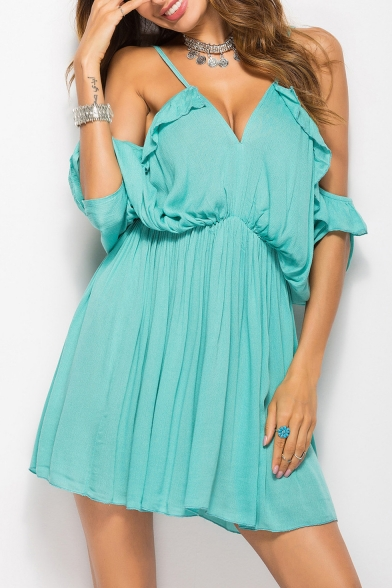 78189b79b9a8 Fancy Plain Off the Shoulder Mini A-line Summer Simple Dress -  Beautifulhalo.com