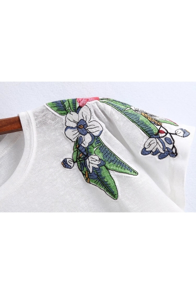 Casual Style Floral Hot Neck Round Embroidery Sleeves Tee Short wUpx70qRS