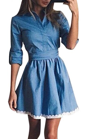 Sleeve Hem Lace Mini A Plain line Dress Trim Denim Lapel Long BgTqw5F