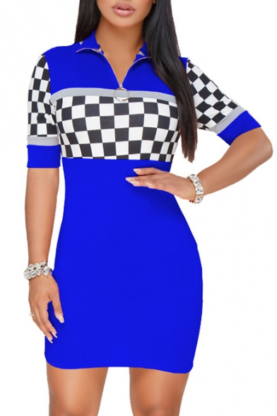 Retro Fashion Plaids Pattern High Neck Zip Detail Short Sleeve Mini Bodycon Dress
