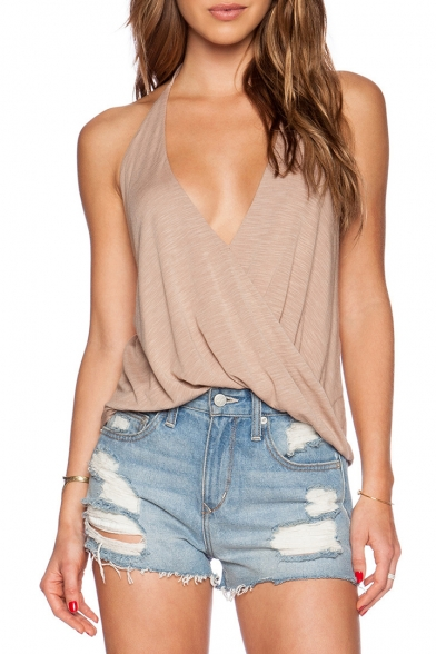 Hollow Back Loose Sleeveless Cami Plain Sexy Halter Out w8AnPq66H