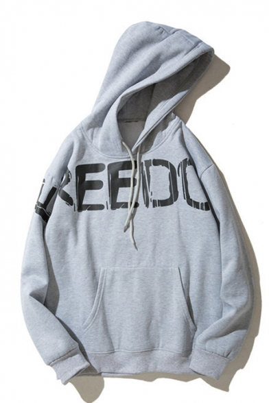 Sleeve FREEDOM Leisure Letter Hoodie Simple Long Printed wSqf6BWvx