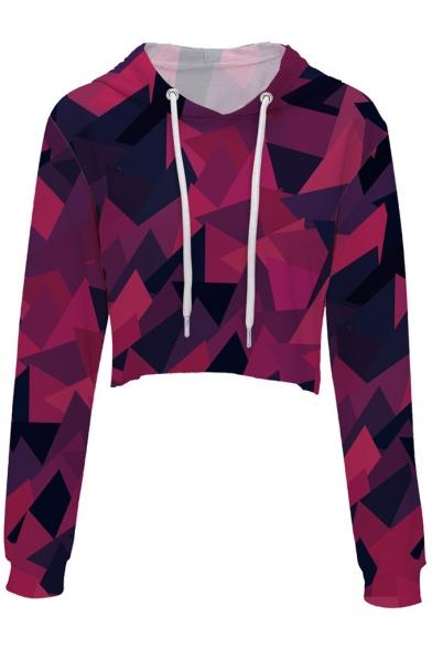 Spring Collection Geometric Printed Long Sleeve Crop Hoodie
