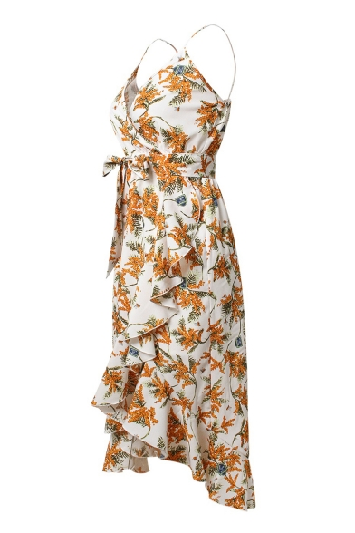 Women's Fashion Floral Leaf Pattern Ruffle High Low Hem Bow Belted Cami Dress