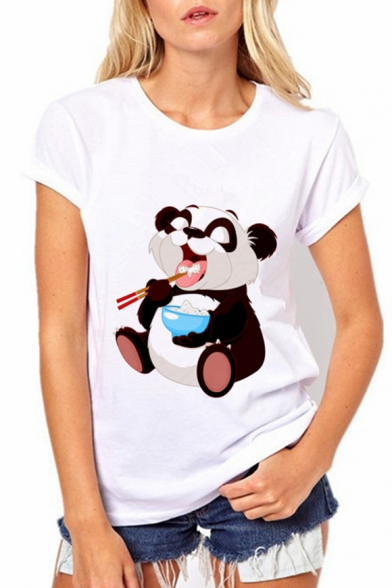 Adorable Eating Panda Printed Round Neck Short Sleeve Leisure Tee