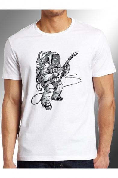 Astronaut Guitar Printed Round Neck Short Sleeve Tee