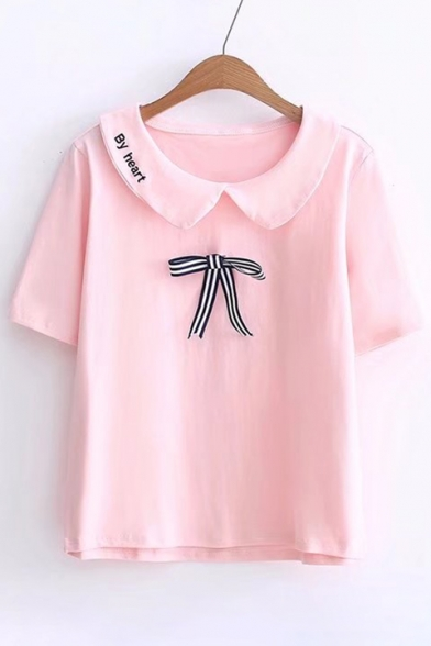 Short HEART Embellished Tee Navy Embroidered Bow BY Sleeve Collar qIw7d1d