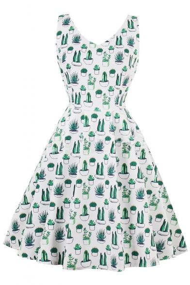 Cactus Potted Printed V Neck Sleeveless Midi A-Line Dress